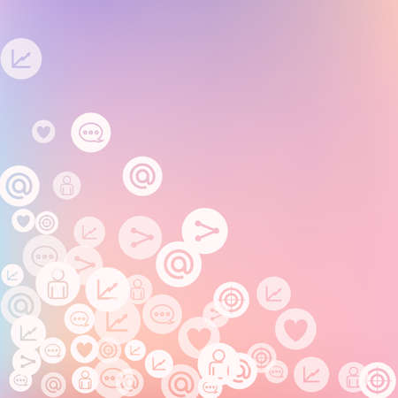 Social media marketing, Communication networking concept. Random icons social media services tags on color background. Comment, friend, like, share, target, message. Vector Internet concept. Stockfoto - 157700985