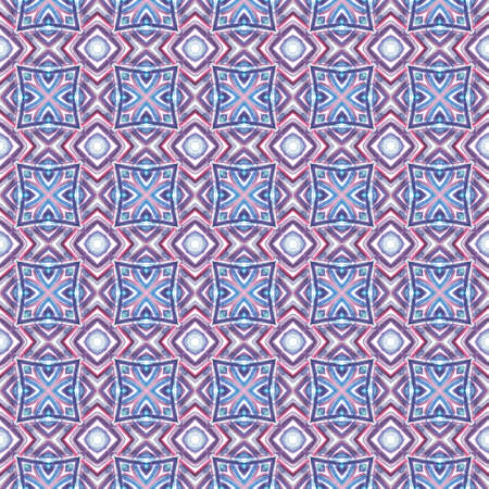Traditional Graphic Hand Drawn Painted.  Talavera, Tunisian, Turkish, Arab Seamless Pattern. Watercolor Surface. Geo Old Rug. Purple, Pink Surface. Graphic Texture.