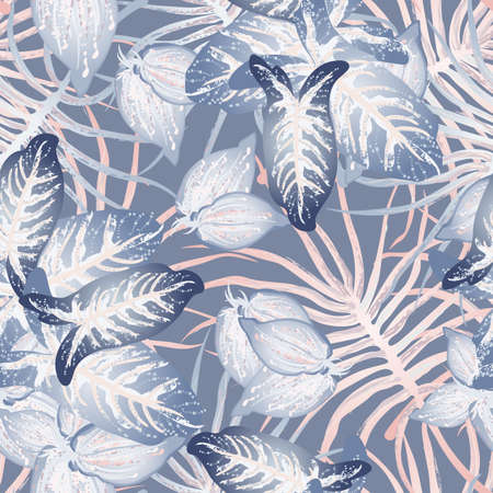 Tropical Leaf Modern Motif. Jungle Print. Foliage Summer Seamless Pattern. Trending Greenery Vector Background. Artistic Botanic Surface. Abstract Plant Texture For Fashion. Soft Pastel Brush Drawing. Stockfoto - 157702682