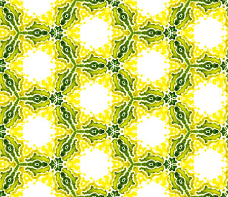 Traditional Graphic Hand Drawn Painted. Talavera, Tunisian, Turkish, Arab Seamless Pattern. Modern Abstract. Ancient Summer Canvas. Yellow, Green Ornament. Geometrical Ornament.