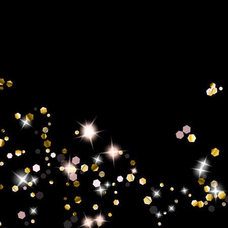 Gold Glitter Stars. Luxury Shiny Confetti. Scattered little sparkle. Flash glow silver element. Random magic tiny light. Hexagon stellar fall black background. New Year, Christmas Vector illustration.