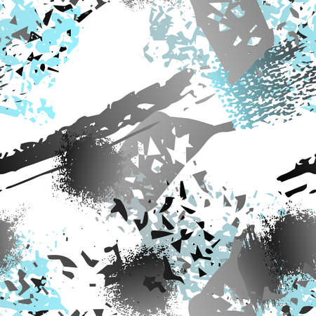Splatter Brush Stroke Surface. Watercolor Endless Repeating Elements. Artistic Creative Splash Trends Motif. Black and White Watercolor Overlay Surface. Abstract Brush Vector illustration.