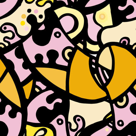 Childish Print. Modern Seamless Pattern.  Black, Yellow Funky Hand Drawn. Linear Collage. Bizarre Street Art. Creative Trendy Style. Abstract, Contrast Shape. Doodle Crazy Vector Background.