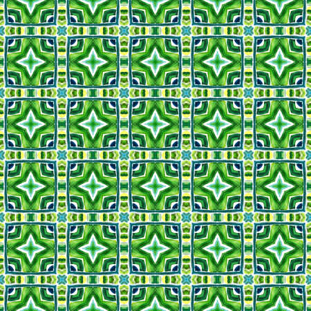 Watercolor Surface. Endless Repeat Painting.  Bohemian, Hippie, Boho, Gypsy Ornament. Watercolor Surface. Modern Vintage Fabric. Blue, Green  Art. Geometry Element. Stockfoto