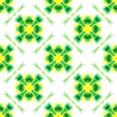 Watercolor Surface. Endless Repeat Painting.  Moroccan, Spanish, Mediterranean, Majolica Ornament. Traditional Graphic. Traditional Textile. Yellow, Green Tile. Geometrical Motif.