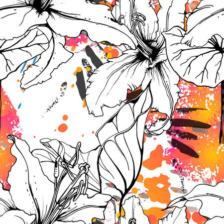 Floral Black and White Seamless Pattern. Modern Artistic Watercolor Print. Fashion Outline Flowers Surface. Botanic Vector Motif on Ink Stains Texture. Drawing Abstract Leaf. Stock Illustratie