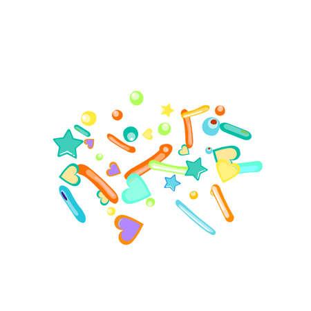 Sprinkles grainy. Cupcake donuts, dessert, sugar, bakery background. Sweet confetti on white chocolate glaze background. Vector Illustration sprinkles holiday designs, party, birthday, invitation. Stock Illustratie