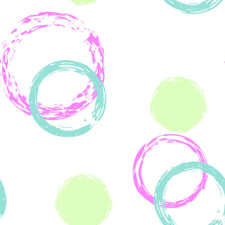 Colorful Polka Dots. Pastel Vector Seamless Pattern. Vivid Ornament. White Abstract Background With Watercolor Fall Chaotic Shapes. Simple Artistic Packaging. Chalk Brush Rounds, Confetti. Stock Illustratie