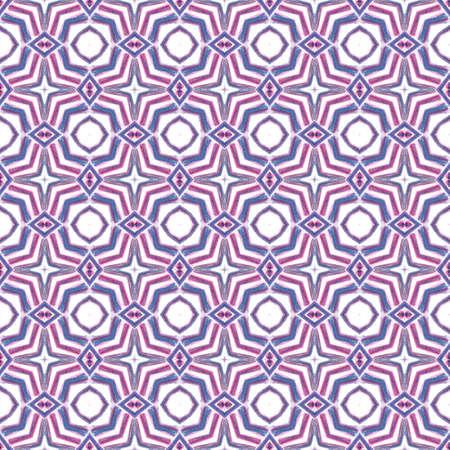 Ethnic Surface. Hand Drawn Painted. Orient, Spanish, Talavera, Tunisian  Seamless Pattern. Ethnic Surface. Modern Folk Bed Linen. Purple, Pink Design. Graphic Design.