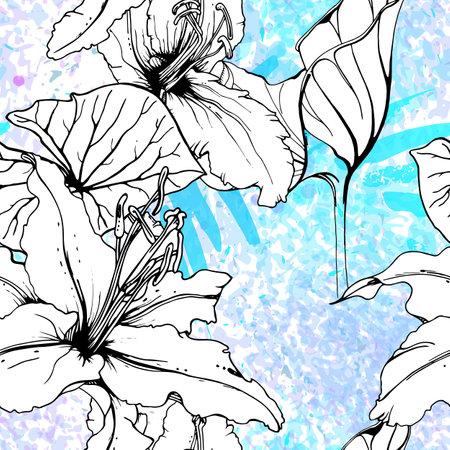 Floral Black White Pattern. Modern Watercolor