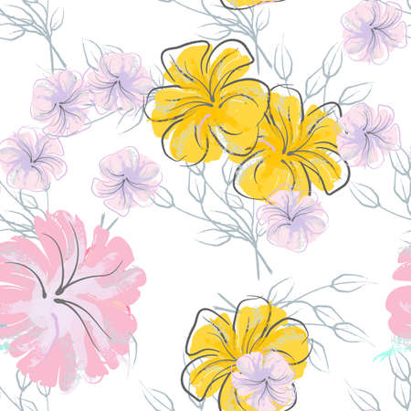 Pink Flowers Blooming Pattern. Pastel Watercolor. Ilustrace