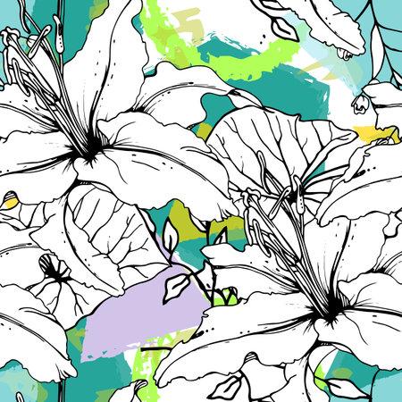 Floral Geometric Print Tropical Jungle Leaf Brush Ilustrace