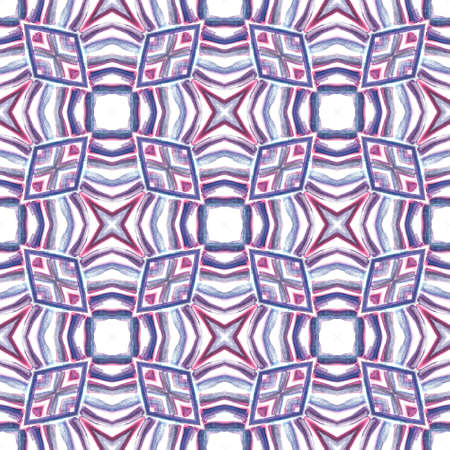 Traditional Graphic Hand Drawn Painted. Talavera, Tunisian, Turkish, Arab Seamless Pattern. Ethnic Surface. Native Geo Bed Linen. Purple, Pink Element. Graphic Tile.