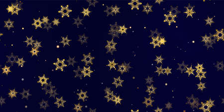 Gold snowflake seamless pattern. Fall golden, vivid, bright snow. Vector Illustration with frost, snowfall, star. Holiday Winter Dark blue background for New Year's, christmas celebration. Stock Illustratie