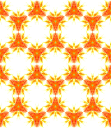 Geo Texture. Hand Drawn Painted. Talavera, Azulejos, Spain, Islam, Arabic Seamless Pattern. Geo Texture. Summer Fabric. Red, Orange Art. Geometrical Mosaic.