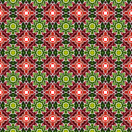 Tribal Art. Endless Repeat Painting. Arab, Arabesque, East, Eastern Ornament. Modern Abstract. Native Traditional Cloth. Burgundy, Green Surface. Herringbone Ornament.