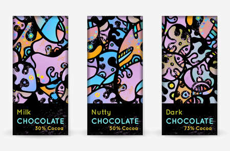 Chocolate Bar Packaging Set. Vector Template With Contrast Ornament Elements. Product Branding Template. Label Pattern Packaging Design. Collection Multicolor Crazy Print. Linear Hand Drawn Doodle.