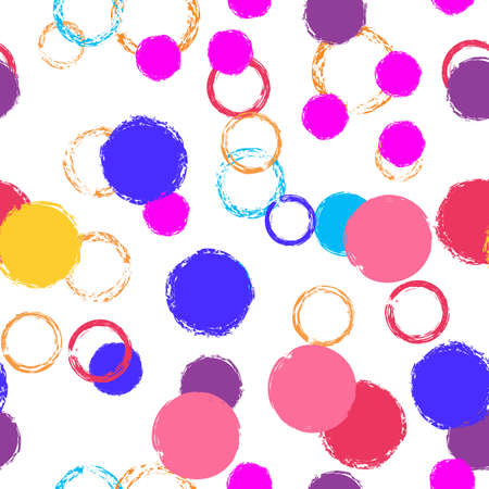 Black Brush Circle. Vector Seamless Pattern. Bright Dotted Pattern. White Abstract Background With Watercolor Fall Chaotic Shapes. Trend Artistic Textile. Chalk Brush Rounds, Confetti. Stock Illustratie