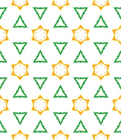 Ethnic Art. Hand Drawn Painted. Arabesque, East, Eastern, Oriental Seamless Pattern. Chevron Geometric. Old Geo Embroidery. Green, Orange Watercolor. Geometrical Art.