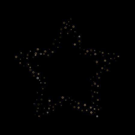 Gold Glitter Stars. Luxury Shiny Confetti. Scattered little sparkle. Flash glow silver element. Random magic tiny light. Stellar fall black background. New Year, Christmas Vector illustration. Stock Illustratie