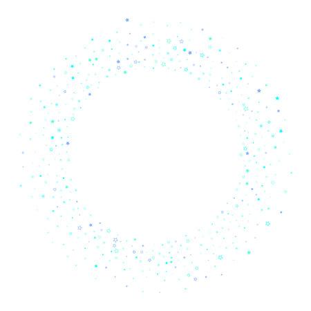 Blue, cyan, turquoise glitter stars, shiny confetti. Scattered little sparkling, glitter elements. Random stellar falling on white background. New Year Christmas background. Vector illustration.