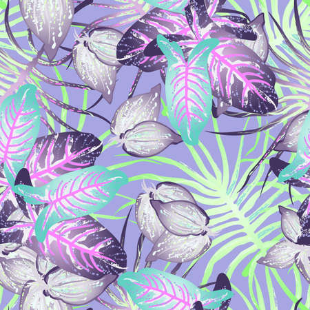 Tropical Leaf Modern Motif. Jungle Print. Foliage Summer Seamless Pattern. Trending Greenery Vector Background. Artistic Botanic Surface. Abstract Plant Texture For Fashion. Soft Pastel Brush Drawing.