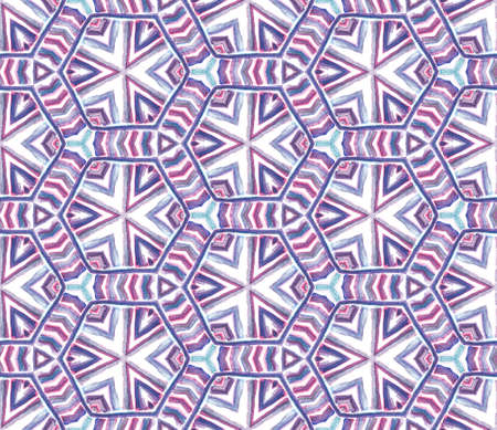 Chevron Geometric Hand Drawn Painted. Ottoman, Islam, Orient, Spanish Seamless Pattern. Traditional Surface. Vintage Traditional Bed Linen. Purple, Pink Mosaic. Ornamental Watercolor.