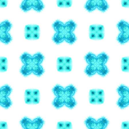 Geo Geometric, Endless Repeat Painting. Portugal, Turkish, Moroccan, Spanish Ornament. Blue, Indigo Pattern. Stockfoto