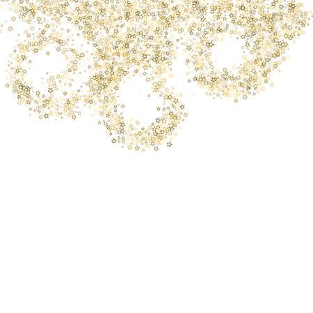 Gold Glitter Stars. Luxury Shiny Confetti. Scattered little sparkle. Flash glow silver element. Random magic tiny light. Stellar fall white background. New Year, Christmas Vector illustration. Vetores