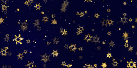 Gold snowflake seamless pattern. Fall golden, vivid, bright snow. Vector Illustration with frost, snowfall, star. Holiday Winter Dark blue background for New Year's, christmas celebration. Vektorgrafik
