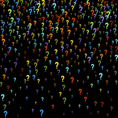 Question marks scattered on black background. Quiz, doubt, poll, survey, faq, interrogation, query background. Multicolored template for opinion poll, public poll. Rainbow color. Vector illustration. Banque d'images - 167002045