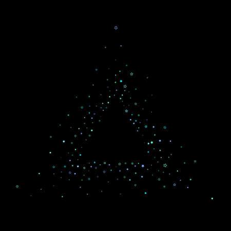 Blue, cyan, turquoise glitter stars, shiny confetti. Scattered little sparkling, glitter elements. Random stellar falling on black background. New Year Christmas background. Vector illustration. Standard-Bild - 167139286