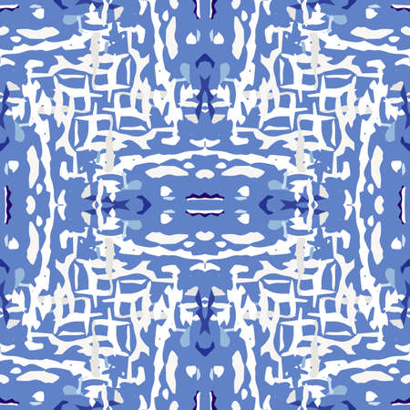 Spots, Ikat. Tie Dye, Batik. Ornament. Watercolor Surface. Endless Repeat Painting. Blue Cyan Modern Tribal Folk Home Decor. Geometrical Ornamental Shibori Watercolor.