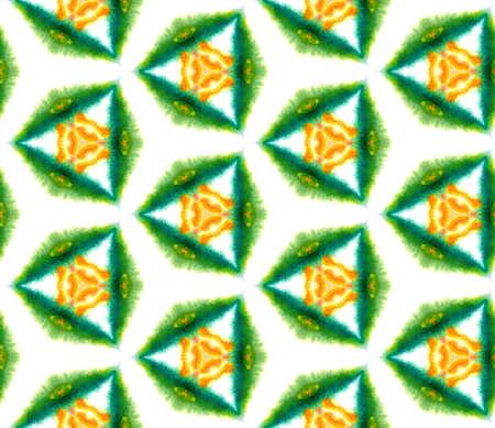 Ethnic Art. Hand Drawn Painted. Arabesque, East, Eastern, Oriental Seamless Pattern. Geo Surface. Ancient Geo Home Decor. Green, Orange Texture. Ornamental Pattern.