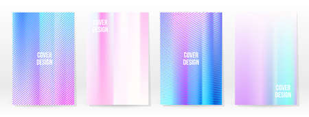 Holographic Poster Set. Iridescent Technology Cover. Mobile Graphic Template. Vector Poster. Gradient Mesh. Futuristic Holographic Template Design. Modern Abstract Backgrounds 90s, 80s Retro Style. 向量圖像