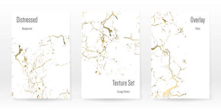 Elegant Gold Texture Set. Marble Business Card. Distress Grunge Stone. Gold White Cracked Wall Texture. Golden luxury Broken Style. Marbling Background. Glitch Noise Rough Design. Vector Illustration.