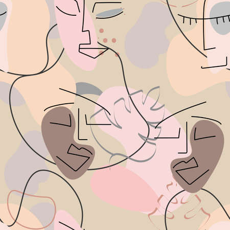 One line drawing. Abstract face seamless pattern. Vector Modern minimal art. Graphics contour background. Continuous line drawing. Linear design woman and man faces. Beauty modern print.