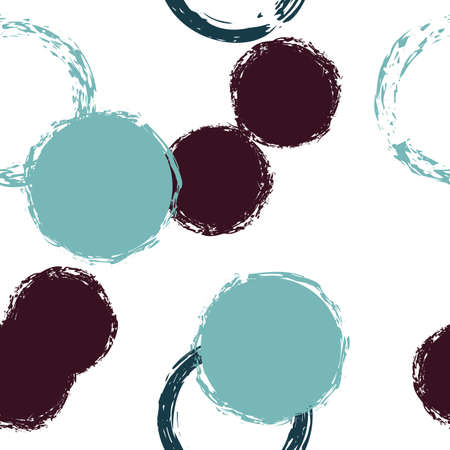 Polka Dot. Texture Vector Seamless Pattern. Multicolor Design. White Abstract Background With Watercolor Fall Chaotic Shapes. Trend Pastel Fabric. Chalk Brush Rounds, Confetti. 向量圖像