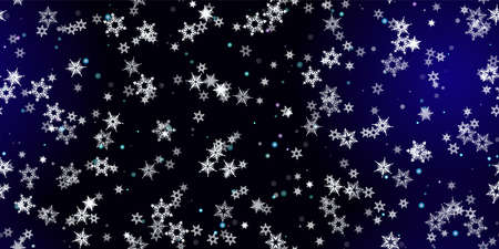 Falling Snowflakes seamless pattern. Illustration with flying snow, frost, snowfall. Winter seamless print for christmas celebration on blue night background. Holiday Vector illustration for New Year