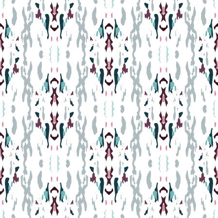 Spots, Ikat. Tie Dye, Batik. Seamless Pattern. Geometric Surface. Hand Drawn Painted. Rose Gray Modern Tribal Vintage Carpet. Ornamental Organic Tie dye Element.