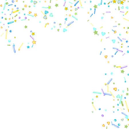 Sprinkles grainy. Cupcake donuts, dessert, sugar, bakery background. Sweet confetti on white chocolate glaze background. Vector Illustration sprinkles holiday designs, party, birthday, invitation. 向量圖像