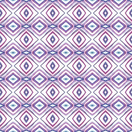 Modern Abstract, Endless Repeat Painting. Talavera, Tunisian, Turkish, Arab Ornament. Geo Art. Folklore Tribal Canvas. Purple, Pink Pattern. Woven Element.