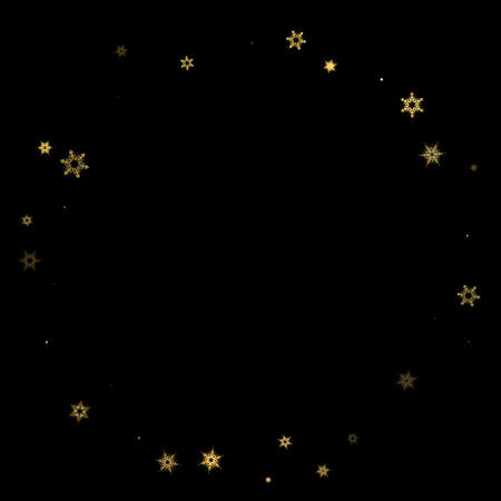 Falling Snow flakes golden pattern. Illustration with flying gold snow, frost, snowfall. Winter print for christmas celebration on black night background. Holiday Vector illustration for New Year. 向量圖像