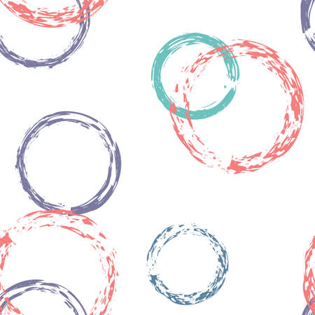 Polka Dot. Texture Vector Seamless Pattern. Bright Ornament. White Abstract Background With Watercolor Fall Chaotic Shapes. Simple Artistic Surface. Chalk Brush Rounds, Confetti. 向量圖像