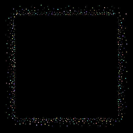 Glitter Iridescent Stars. Holographic Sparkle Fall Confetti. Rainbow Sprocket, Shiny Little, Balls, Circles. Random Stellar Falling Black Background. New Year Scattered Christmas Vector illustration. 向量圖像