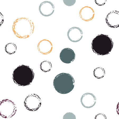 Polka Dot. Texture Vector Seamless Pattern. Color Decor. White Abstract Background With Watercolor Fall Chaotic Shapes. Simple Pastel Giftwrap. Chalk Brush Rounds, Confetti. 向量圖像