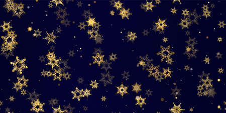 Gold snowflake seamless pattern. Fall golden, vivid, bright snow. Vector Illustration with frost, snowfall, star. Holiday Winter Dark blue background for New Year's, christmas celebration. 向量圖像