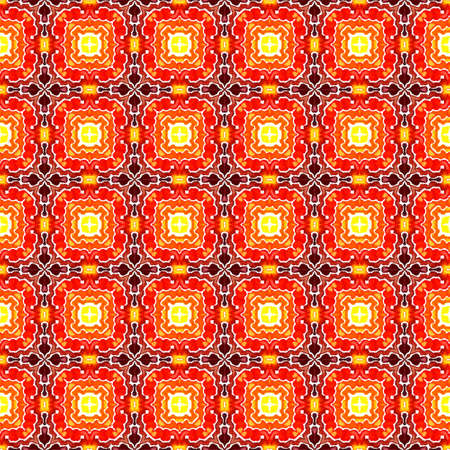 Tribal Art. Endless Repeat Painting. Arab, Arabesque, East, Eastern Ornament. Traditional Surface. Geo Traditional Woven. Red, Orange Watercolor. Woven Watercolor.