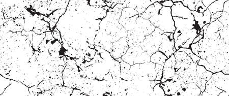 Distress Grunge Texture. Seamless Pattern. Halftone Old, Retro Background. Broken, Cracked Wall Texture. Scratched, Dirt Print. Black and White Grunge Style. Noise Rough Design. Vector Illustration.