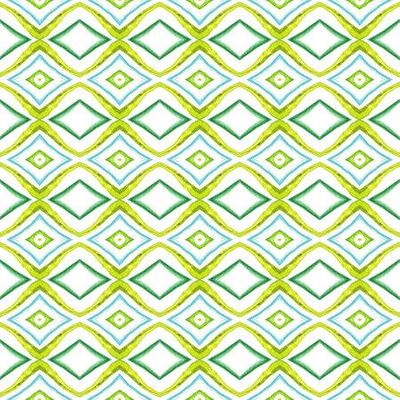 Geo Surface. Endless Repeat Painting. Talavera, Azulejos, Portugal, Turkish Ornament. Modern Abstract. Old Bed Linen. Blue, Green Print. Herringbone Pattern. 免版税图像